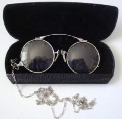 A pair of used 19th century prince-nez can be easily fitted with new reading lenses: $50.