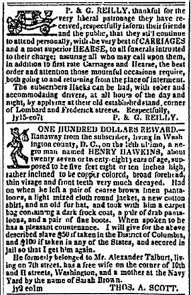 Reilly and Runaway Ad 1842